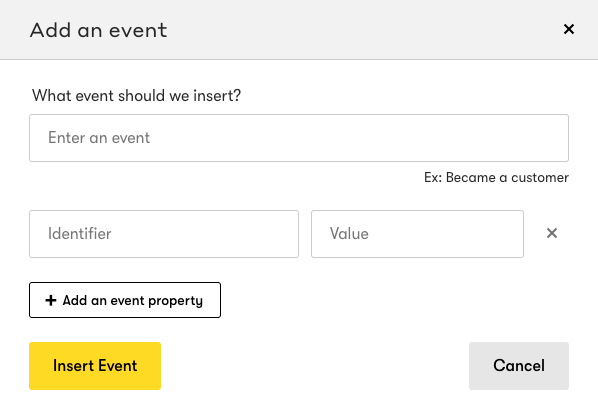 The pop-up to add a Custom Event to a person.