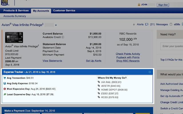 Expense Tracker for RBC
