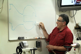 Photo: Discussing the first step of his hollowing technique.  After drilling out the globe, make your first cuts near the rim.
