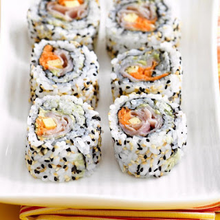 Ham, Cheese and Avocado Sushi Rolls Recipe
