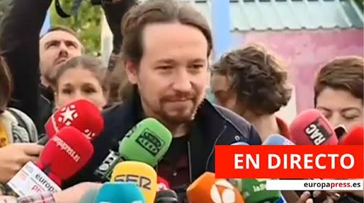 Pablo Iglesias tras ejercer su derecho al voto en La Navata (Madrid) - CAPTURA