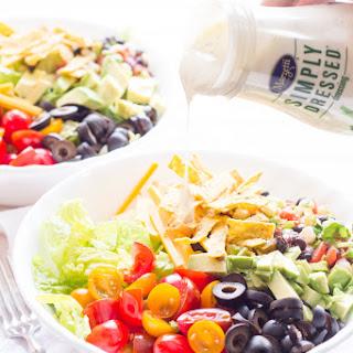 Tortilla Chopped Salad with Black Bean Salsa and Ranch.