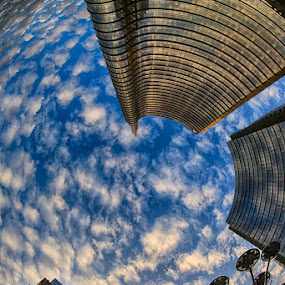 Clouds Vortex In Milano Porta Nuova by Luca Libralato - Buildings & Architecture Office Buildings & Hotels ( porta nuova, clouds, milan, fisheye, sunset, buildings )