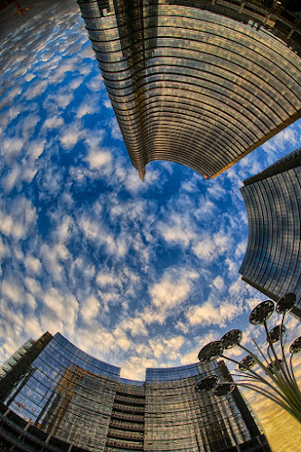 Clouds Vortex In Milano Porta Nuova by Luca Libralato - Buildings & Architecture Office Buildings & Hotels ( porta nuova, clouds, milan, fisheye, sunset, buildings )