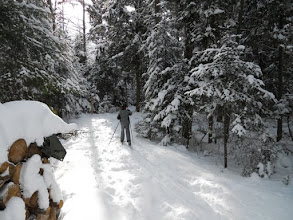 Photo: Ski or snow shoe right outside your door - free trails to Lodge guests