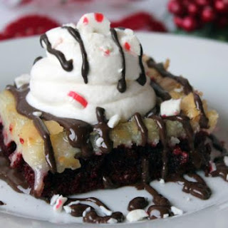 Peppermint Velvet Gooey Butter Cake