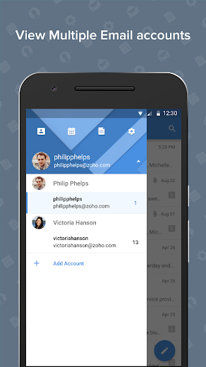 Screenshot 0 for Zoho Mail's Android app'