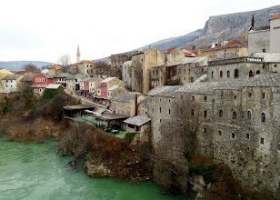 Photo: Looking across the Neretva river we could see the buildings with their rock construction and slate tile roofs.