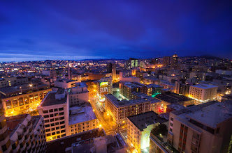 Photo: Stay a While - San Francisco, California  I was in San Francisco last week for work and stayed at the Parc 55 and had a beautiful view of the city. I made my first attempt at making a time lapse (and now need to figure out how to put it together- any suggestions?)- this is one of the images during blue hour right before sunrise. It was really interesting to go through the images and see the sky turn from black to purple to blue to (sadly) gray. Anyone have any experience with time lapses? Do you use any specific software to put them together?  #sanfrancisco  #bluehour  #sunrise