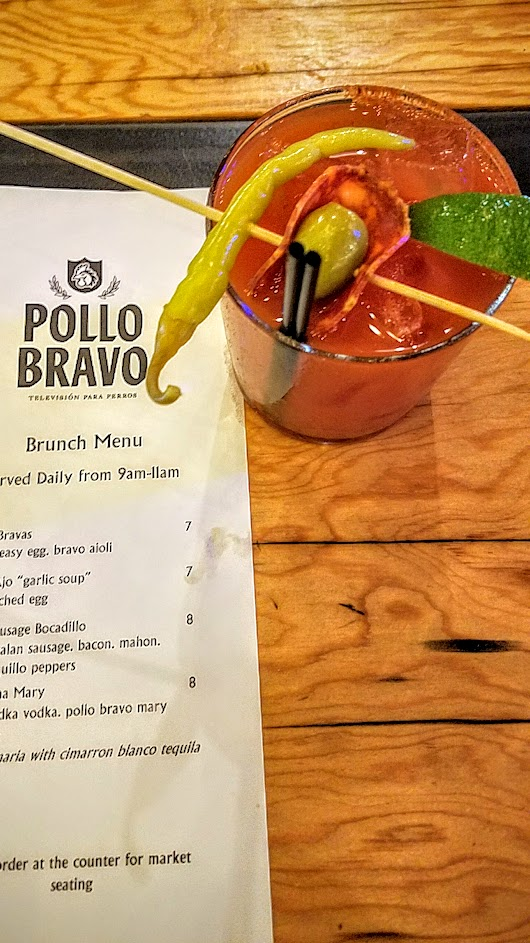 Brunch at Pine Street Market includes Pollo Bravo, offering La Tomatina Mary with Svedka vodka and Pollo Bravo bloody mary mix. You can make it a Maria with Cimarron Blanco Tequila if you'd like.