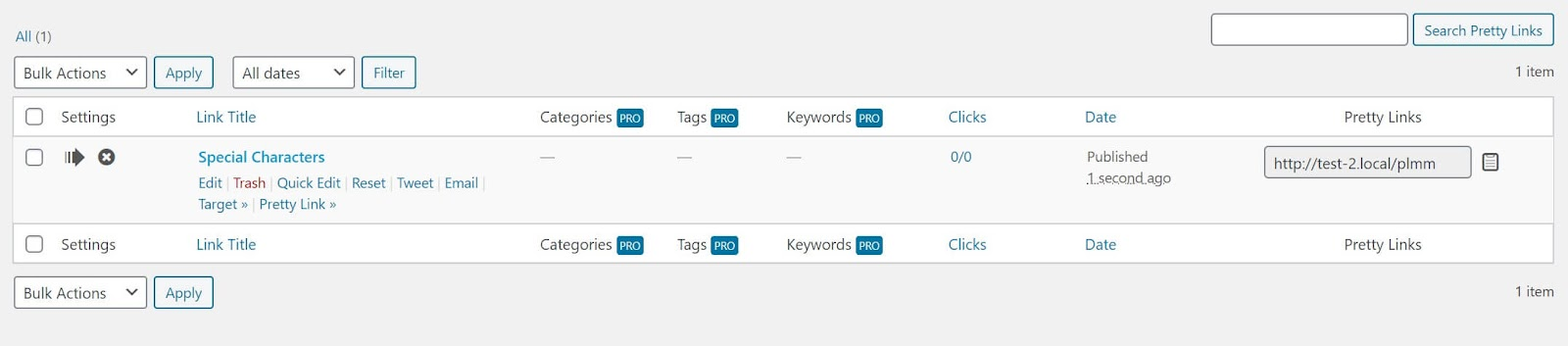 How to make quick edits in the Pretty Links dashboard
