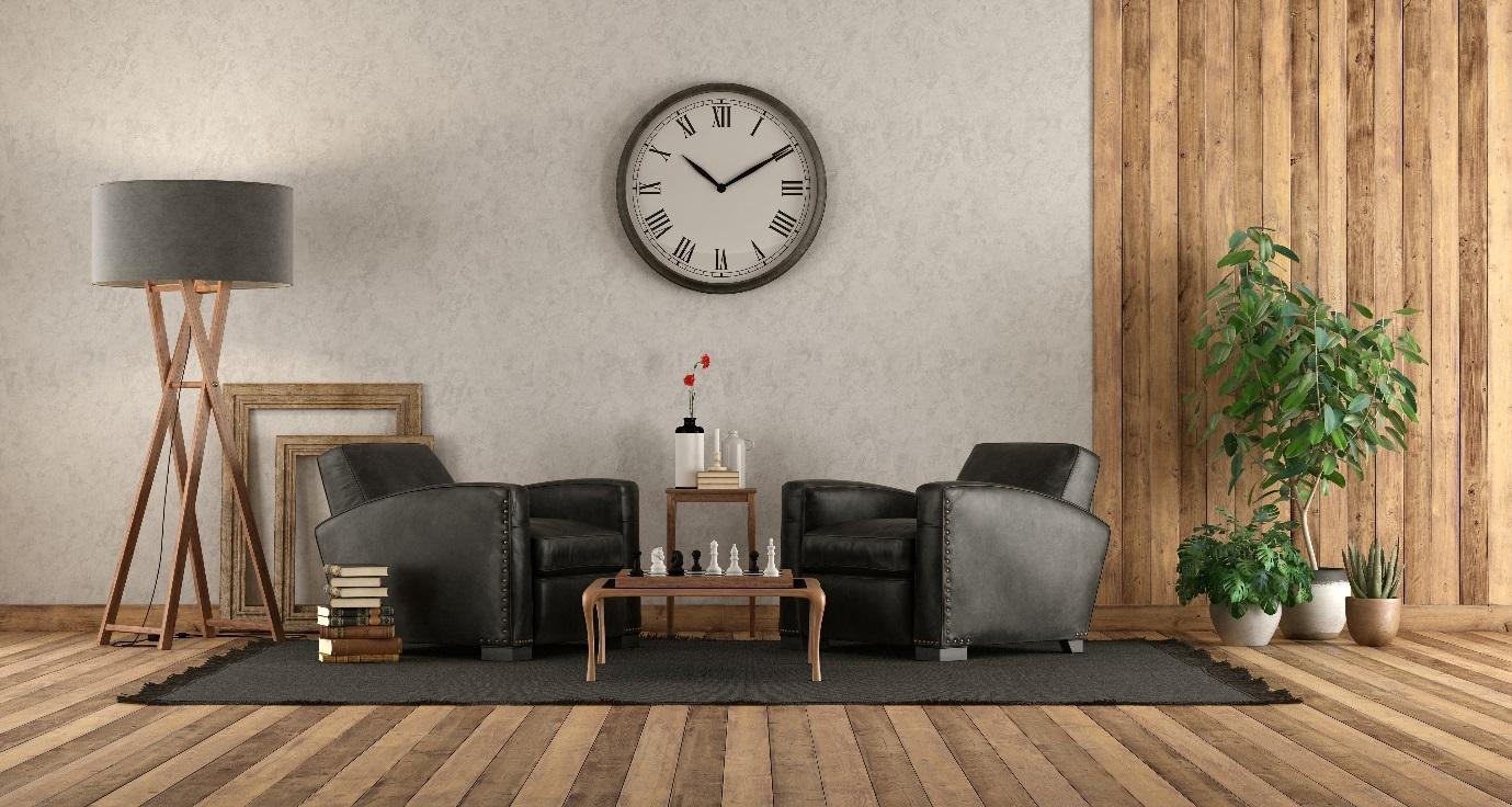 Uma imagem contendo relógio, parede, interior, chão  Descrição gerada automaticamente
