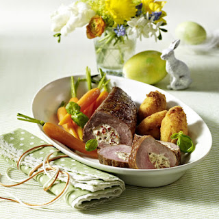 Stuffed Pork Tenderloin with Potato Croquettes and Baby Carrots
