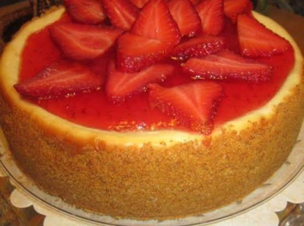 Strawberry Wine Jelly Topped Cheesecake
