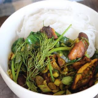 Make-Ahead Turmeric Mushroom Stir-Fry with Herbs and Vermicelli.