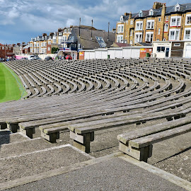 Lines of seats at cricket ground by Eloise Rawling - Novices Only Sports ( scarborough, north marine road, seats, cricket ground )
