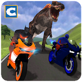 Superheroes Bike Racing: Dino World