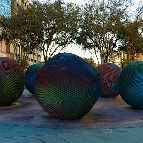 Art! by Michelle Bergeson - City,  Street & Park  Street Scenes ( sculptures, balls, patterns, colors, art,  )