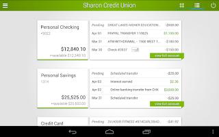 Screenshot of Sharon Credit Union Mobile