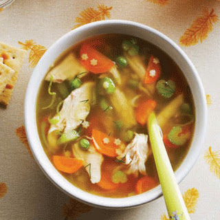 Hearty Chicken Soup with Star Pasta