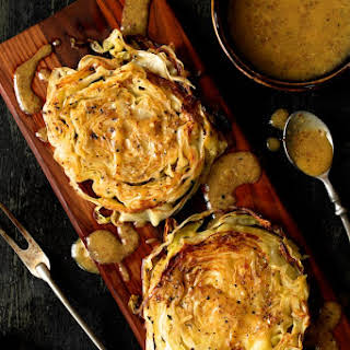 Roasted Cabbage Steaks with Mustard Vinaigrette.