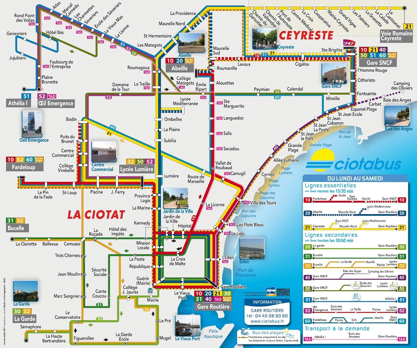 Схема автобусных маршрутов по La Ciotat