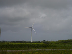 Photo: This is the first of quite a number of wind turbines that we see in the area.