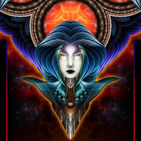 by Rolando Burbon - Illustration Sci Fi & Fantasy ( fantasy portrait, mystical, moon, fantasy, abstract art, kaleidoscope, fractal art, fractal, fractal portrait )