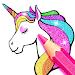 Rainbow Glitter Coloring Book - Unicorn Artist icon