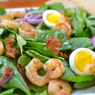Spinach Salad with Shrimp and Warm Bacon Dressing