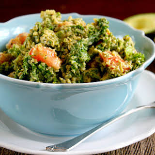 Wilted Kale Salad with Creamy Chipotle Dressing (Raw, Vegan, Gluten-Free, Dairy-Free, Paleo-Friendly).