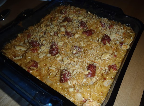 Cut up smokies into thirds.  Mix into cheese sauce.Add pasta and mix well...