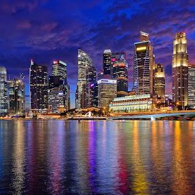 Singapore CBD by Claus Dahm - City,  Street & Park  Skylines ( skyline, cbd, blue hour, night, singapore cbd,  )