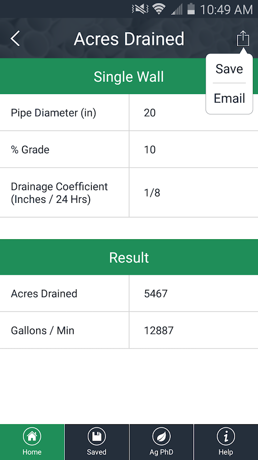 Drainage Tile Calculator- screenshot
