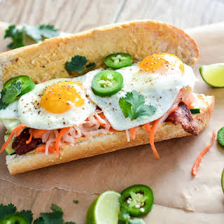 Breakfast Banh Mi with Bacon and Curry Aioli.