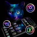 Colorful Black Cat Neon Theme 🐱 icon