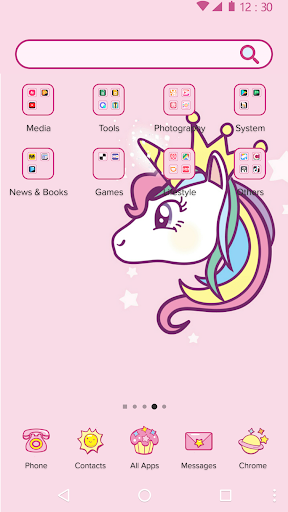 Cartoon Theme - Cute Unicorn 1.0.1 screenshots 2