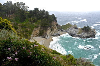 Photo: 167. This is the often-photographed McWay Falls, within Julia Pfeiffer Burns State Park ... it's so interesting how it flows right into the ocean. If you're familiar with this spot and this image looks like it's from a different perspective than you're used to (higher up, that is), that's because I took it from the road, right before you enter the park. There's no pullout at this spot, but when I approached the park, traffic was stopped due to a motorcycle accident ahead. We were all stuck there for over a half hour, so most of us got out of our cars and walked around some. If you have to be stuck, without being able to move for some time, how could it be better than this?!