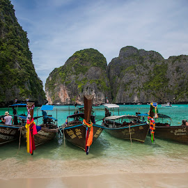 Maya Bay Thailand by Chris Wild - Transportation Boats ( beach, thailand, blie, paradise, longboat, water, sea, maya )