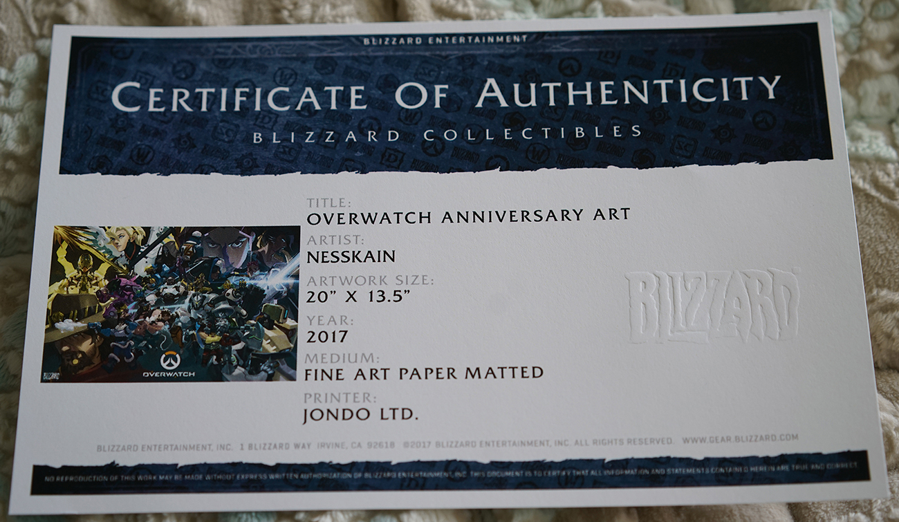 Blizzcon 2017 Exclusive Overwatch Anniversary Art Print Signed