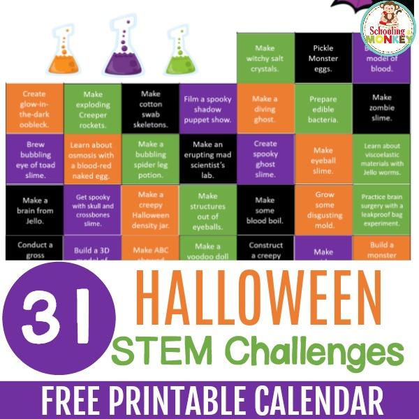 halloween stem challenge calendar