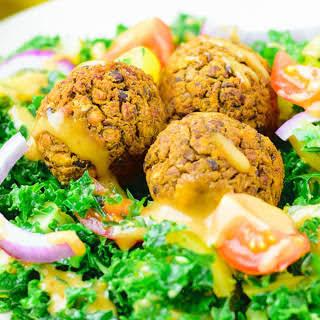 Kale Salad With Lentil Meatballs [Vegan, Gluten-Free].
