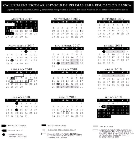 Calendario SEP 195 días, Ciclo escolar 2017-2018