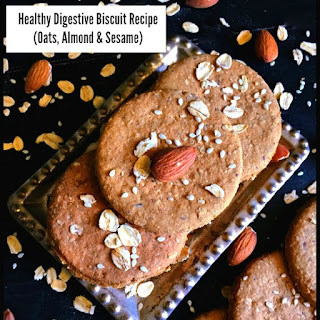 Healthy Digestive Biscuit Recipe (Oats, Almond & Sesame).