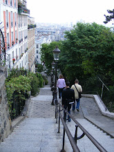 Photo: Down we go from Sacre Coeur for our first metro trip to the city center. We purchase the Carte Mobilis every day we're in the city for the flexibility of all-day travel, and we do get our money's worth.