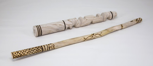 "Photo: Jeff Tate 10 1/2"" & 16"" Courage Wands [unknown woods, burning]"