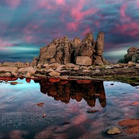 Sunset on the Tor by Michael Lucchese - Landscapes Sunsets & Sunrises ( water, boulders, kosciuszko, nsw, landscape, panorama, colour, national park, d810, color, sunset, australia, nikon, rocks, granite,  )