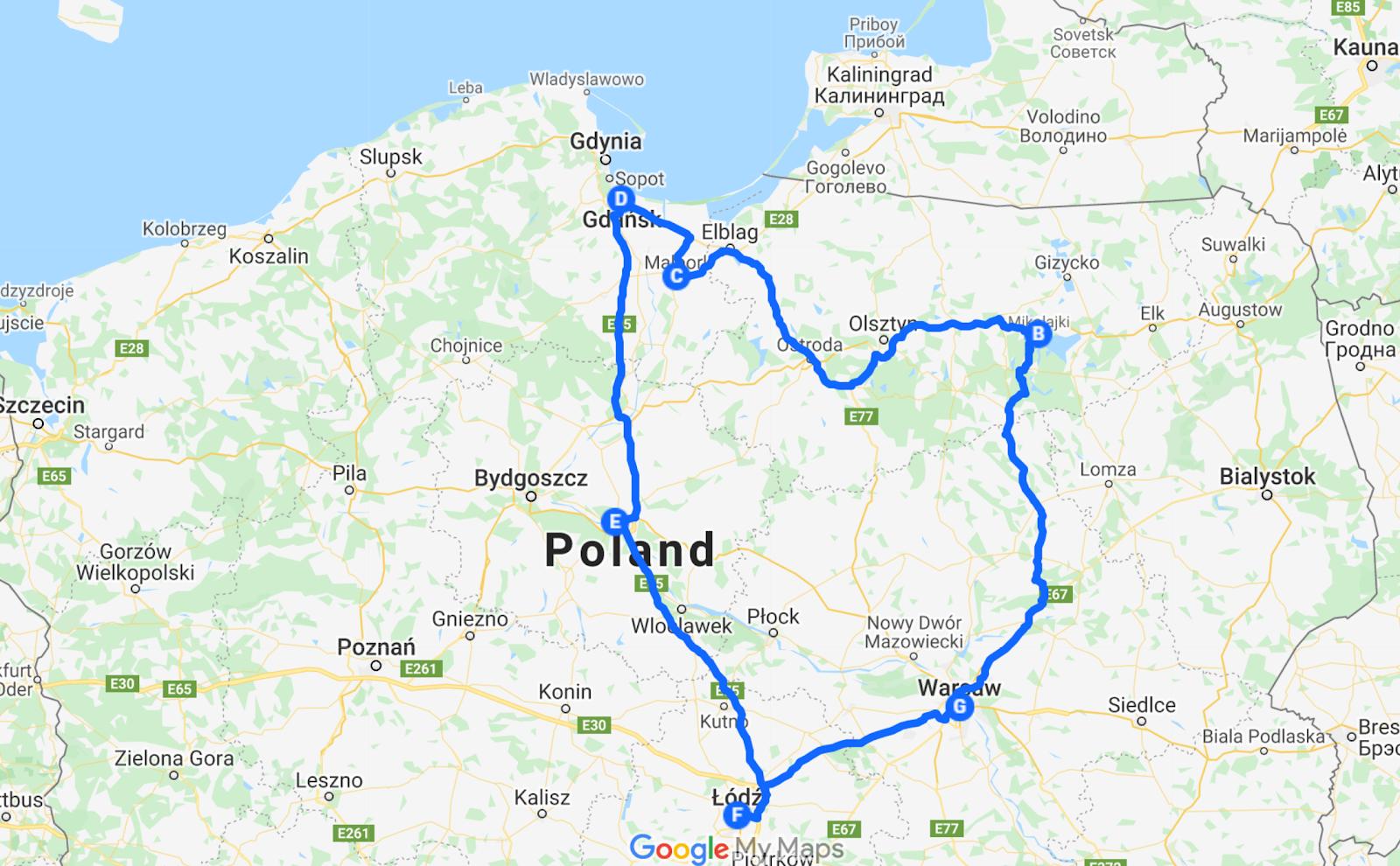poland road trip itinerary warsaw to masurian lake district malbork castle gdansk torun lodz google maps plan
