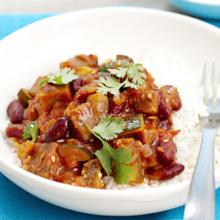 Spiced Eggplant and Kidney Beans