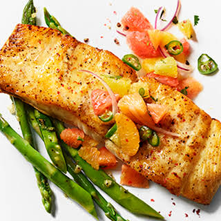 Halibut Fillet with Citrus Salsa and Asparagus.
